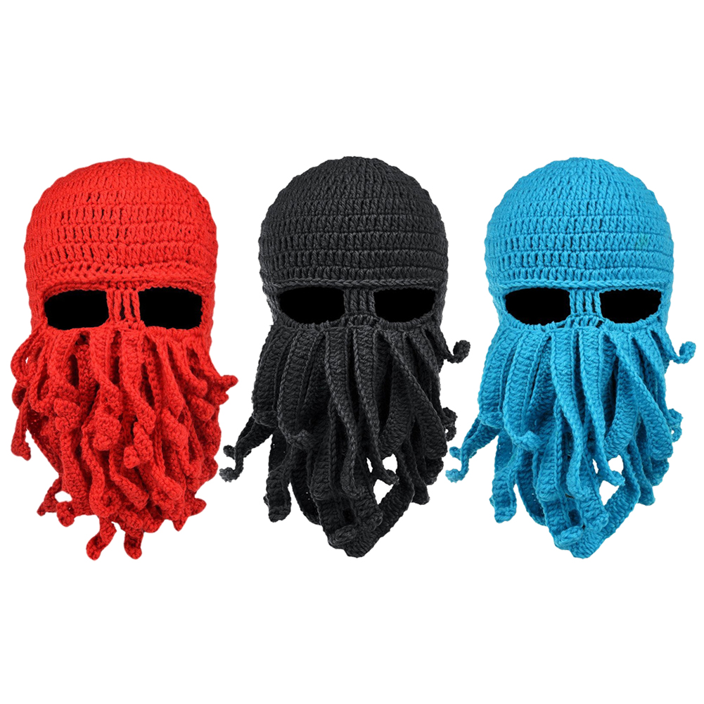 Outdoor Sports Headwear Cycling Unisex Men Women Octopus Beard Ski Hat Mask Handmade Knitted Wool Riding Cycling Full Face Mask