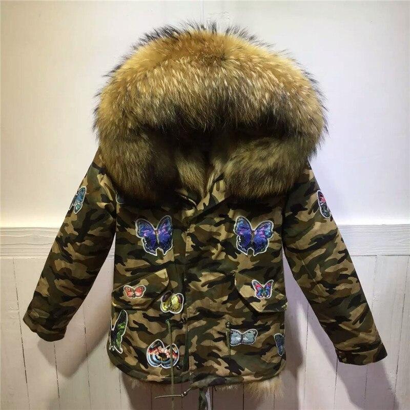 Épais Naturel Mode Chaud Manteaux Fox Style Mme Camouflage Papillon qCf57ZC