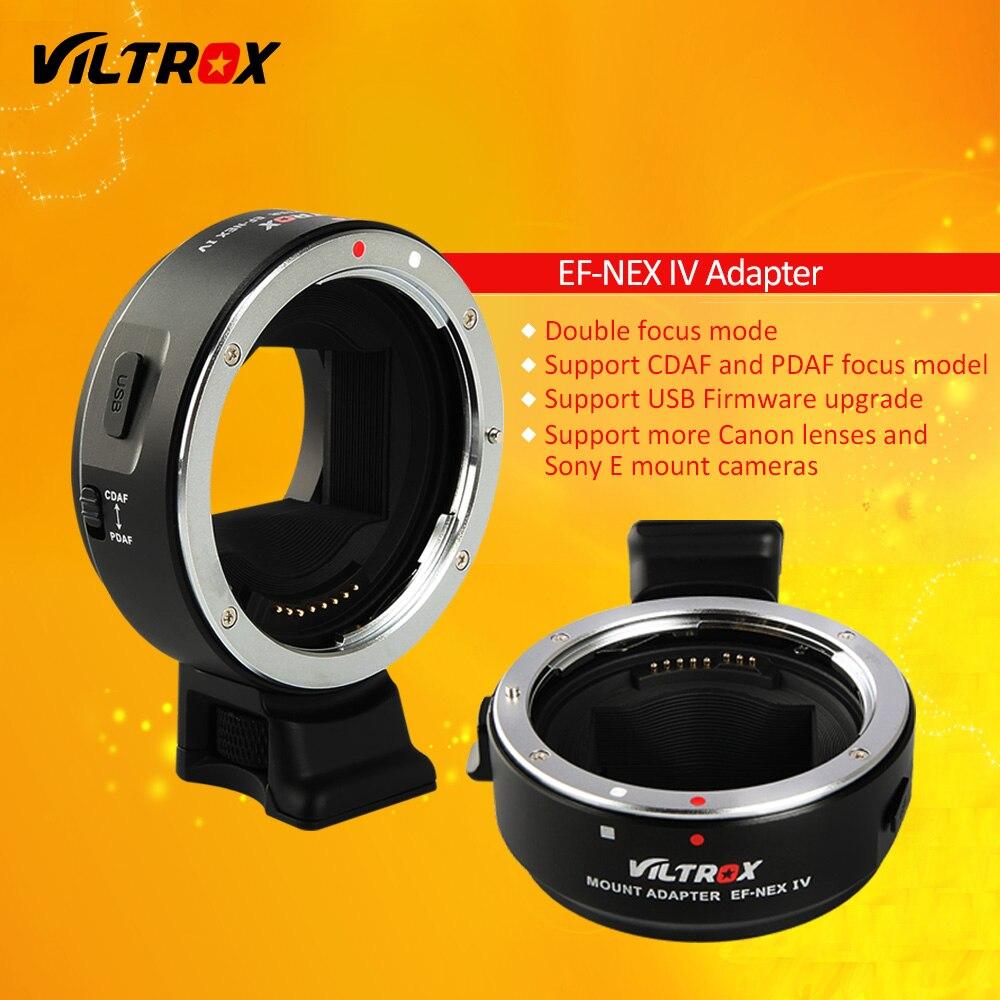 Viltrox EF-NEX IV Adaptateur Auto Focus Lens pour Canon EOS EF EF-S Lens pour Sony NEX E Plein Cadre A9 AII7 A7RII A7SII A6500 A6300