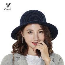 VBIGER Women Knitted Bucket Hat Fashionable Winter Cloche Cap Foldable  Stripe Bowler Hat Fedoras(China d9556fdda92e