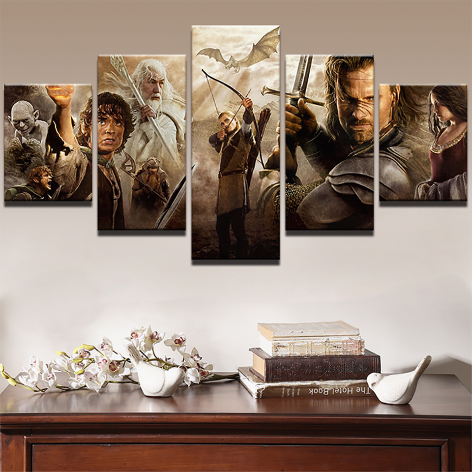 Modern Wall Art HD Print Pictures Home 5 Panel Lord Of The Rings Movie Characters Decoration Posters Frame Living Room Painting image