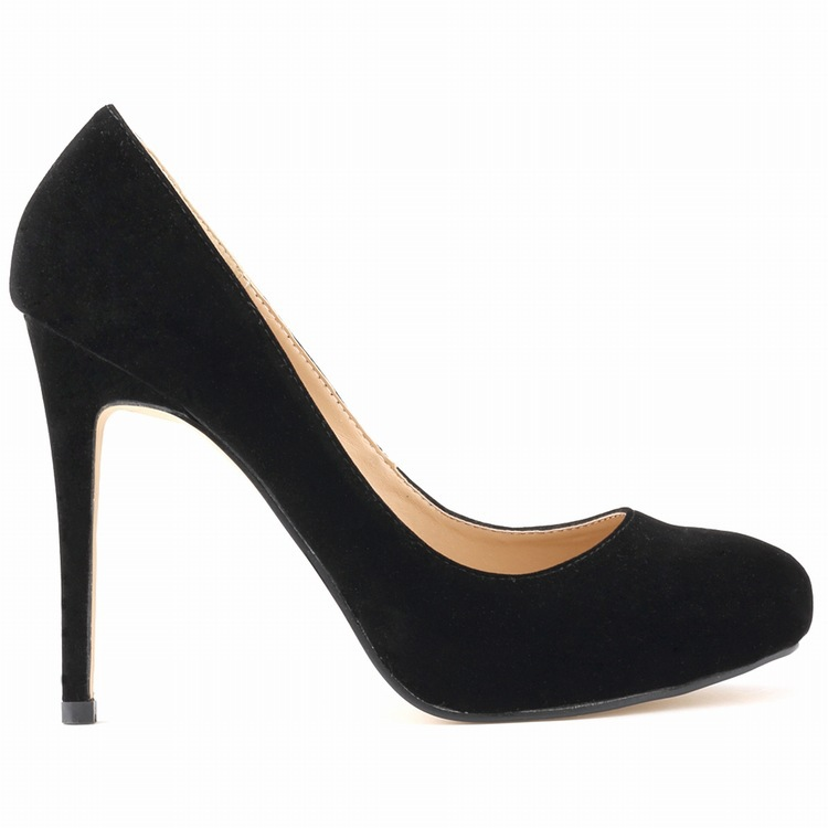 ФОТО 2015  Fashion Women  Summer Pumps Office & Career Suede Soft Leather Office Lady Round Toe Basic Slip - OnThin Heels Pumps