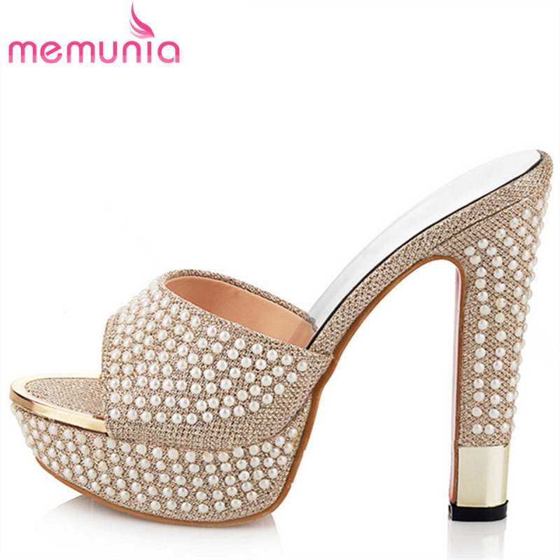 MEMUNIA 2018 new arrive hot sale women high heels sandals fashion beading platform peep toe summer shoes elegant anmairon shallow leisure striped sandals women flats shoes new big size34 43 pu free shipping fashion hot sale platform sandals