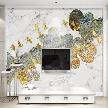 beibehang Custom 3d wallpaper mural curve new Chinese gold line landscape jazz white marble background wall papers home decor