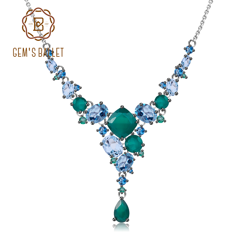 GEM S BALLET Luxury Natural Green Agate Bride Necklace 925 Sterling Silver Geometric Necklace for Women