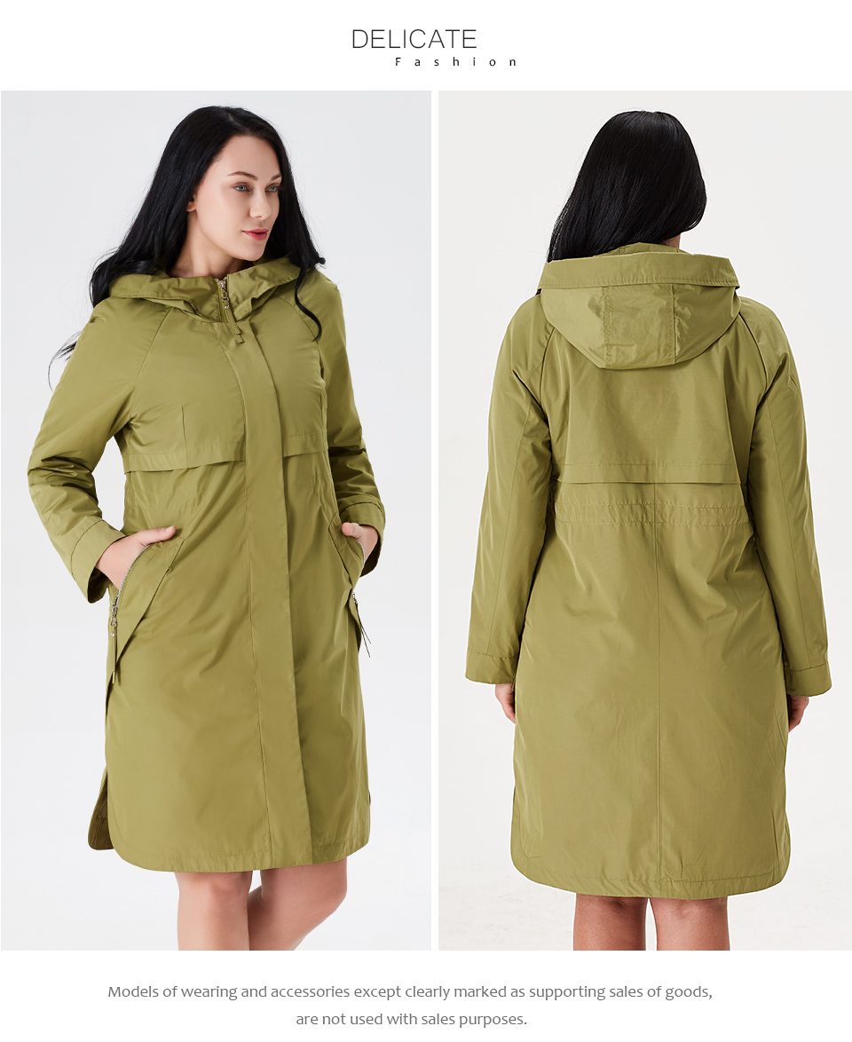 19 Trench Coat Spring And Autumn Women Causal coat Long Sleeve With Hood Solid color female moda muje High Quality new AS-9046 7