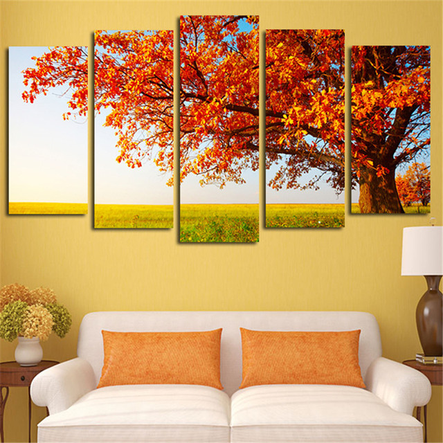 5 Plane Wall Painting Canvas Art Pictures Autumn Tree Modular ...