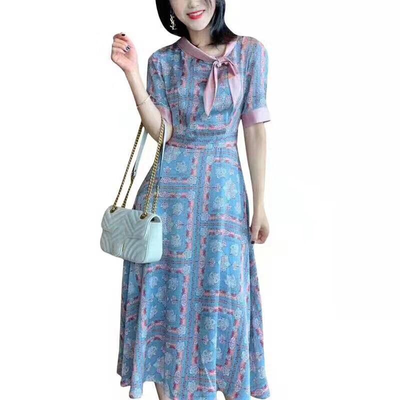 2019 nuevos vestidos de lujo con lazo de manga corta para mujer-in Vestidos from Ropa de mujer    1