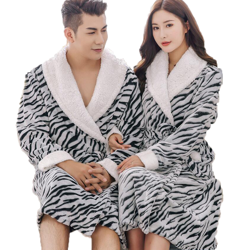 Winter Flannel Couple Bathrobes Thick Warm Kimono Long Bath Robe Bridal  Wedding Bridesmaid Robes Dressing Gowns For Women Men-in Robes from  Underwear ... c659ee6fb