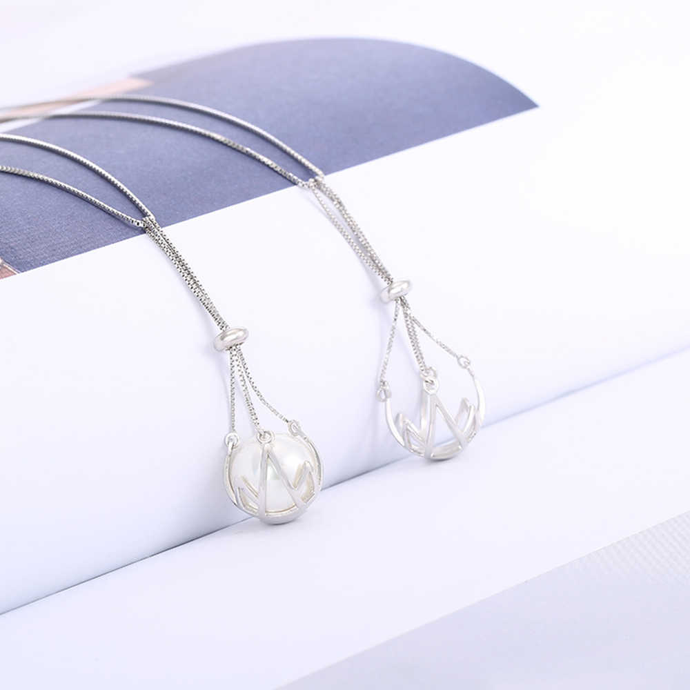 Sterling Silver Pearl Pendant Mounts Fit 12-13mm Bead New Design Pearl Cage Pendant Woman Jewelry Making Accessory Without Chain