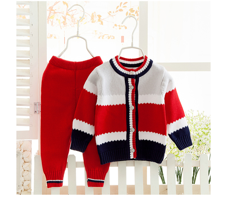 Boys Sweaters Suits Children's Winter New Brand Pullover Jacket&coat&sweater+trousers Girls Thick Fashion Stripe Knitwear Sets