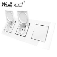 EU Socket with Cap and Light Switch Wallpad Luxury Glass EU Triple 1 Gang 2 Way + 16A EU Wall Socket with Cap Claws Mount