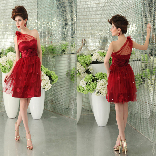 2489bd605c1 Wine red one shoulder A-line handmade flowers natural sleeveless short  dress organza prom dress short zipper knee-length dress