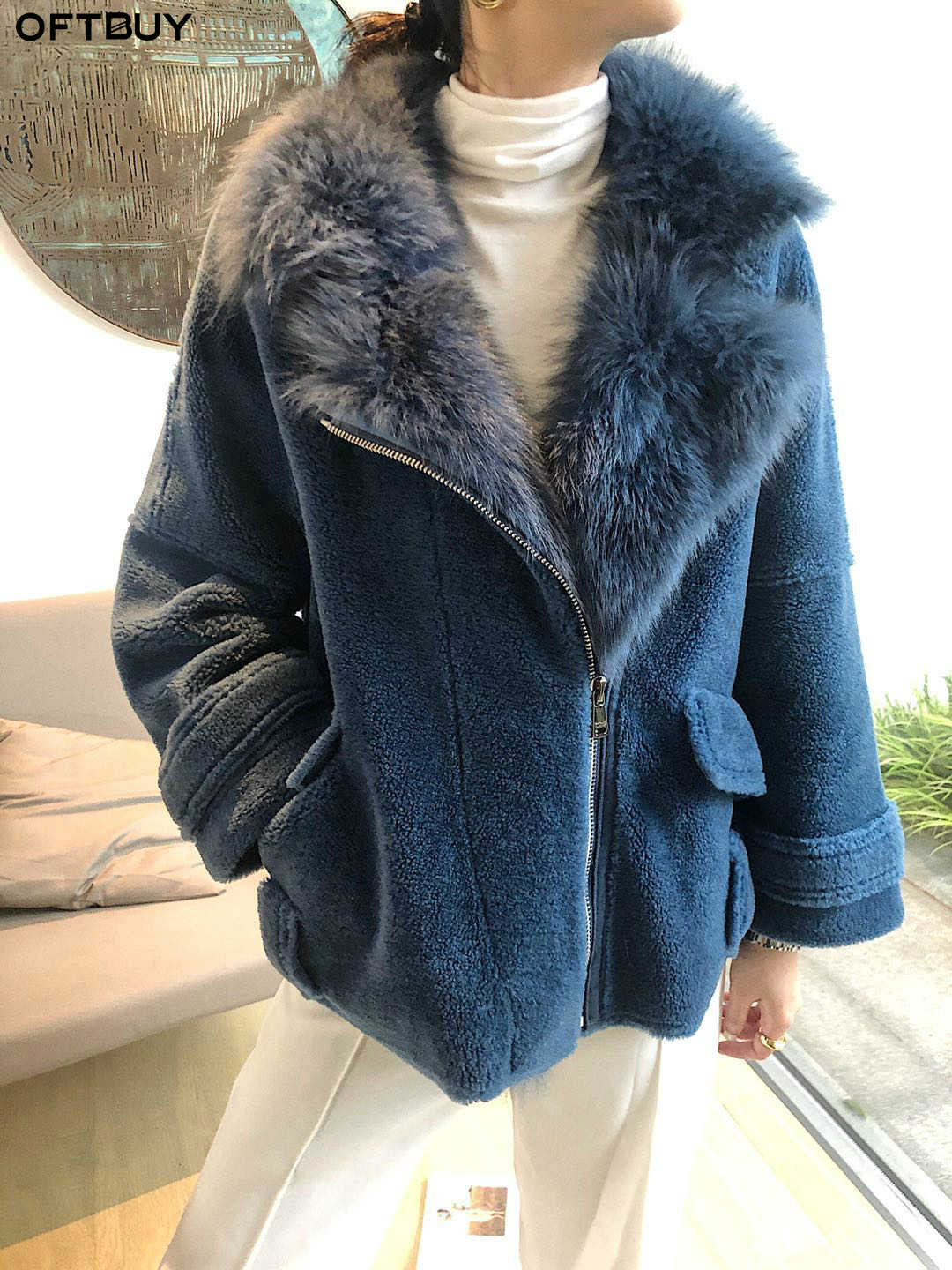 OFTBUY 2019 Real Fur Coat Winter Jacket Women Granule Lambswool Female Natural Fox Fur Collar Sheep Shearing Fur Outerwear Warm