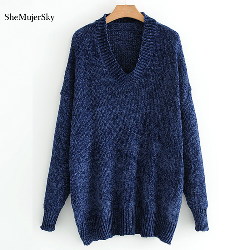 SheMujerSky Women Pullovers Jumper Female V Neck Casual Sweaters 2017 Winter Christmas Sweater knitted Clothes Pull Femme