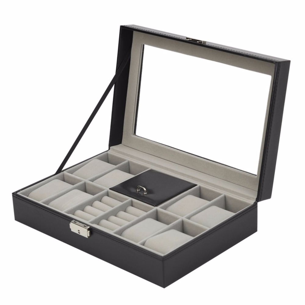 2018 New 2 In One 8 Grids+3 Mixed Grids Black Leather Watch Box Watch Rings Storage Organizer Jewelry Display Case multi grids desk storage organizer