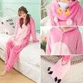 Kigurumi Flanela Inverno Animal Dos Desenhos Animados de Uma Peça Sleepwear Feminino Rosa Pantera Leopardo Lobo Pijamas Onesies Cosplay Trajes