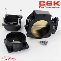 92mm Throttle Body+ Mass Air Flow Sensor MAF End Intake Adapter For Chevy LS1 Black / Silver