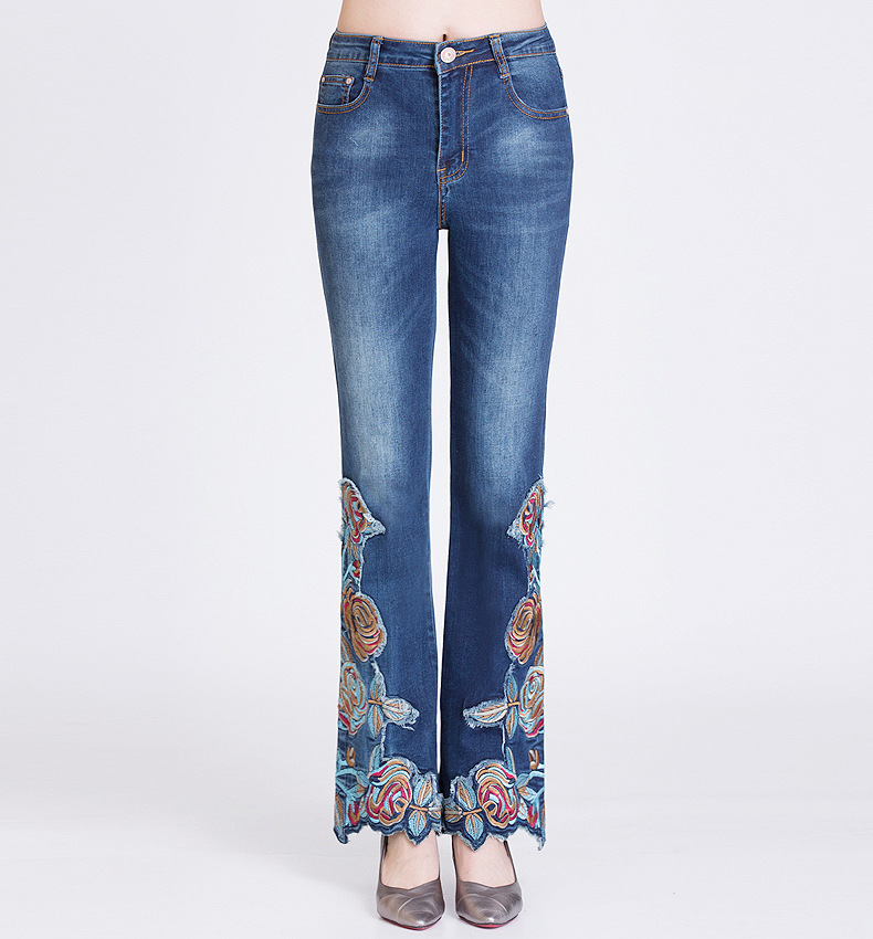 KSTUN Jeans Women Embroidered Florals High Waist Stretch Jeans Push Up Flares Bell Bottoms Slim Fit