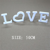50cm Free standing Artificial Wood Wooden Letters White Alphabet for home Wedding Photo Props Birthday Party gifts & baby's name