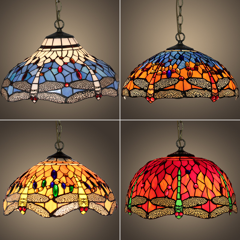 16 inch Dragonfly Tiffany Stained Glass Suspended Luminaire E27 Pendant Light Lighting Lamp for Home Parlor Dining Room Pendant Lights    - title=