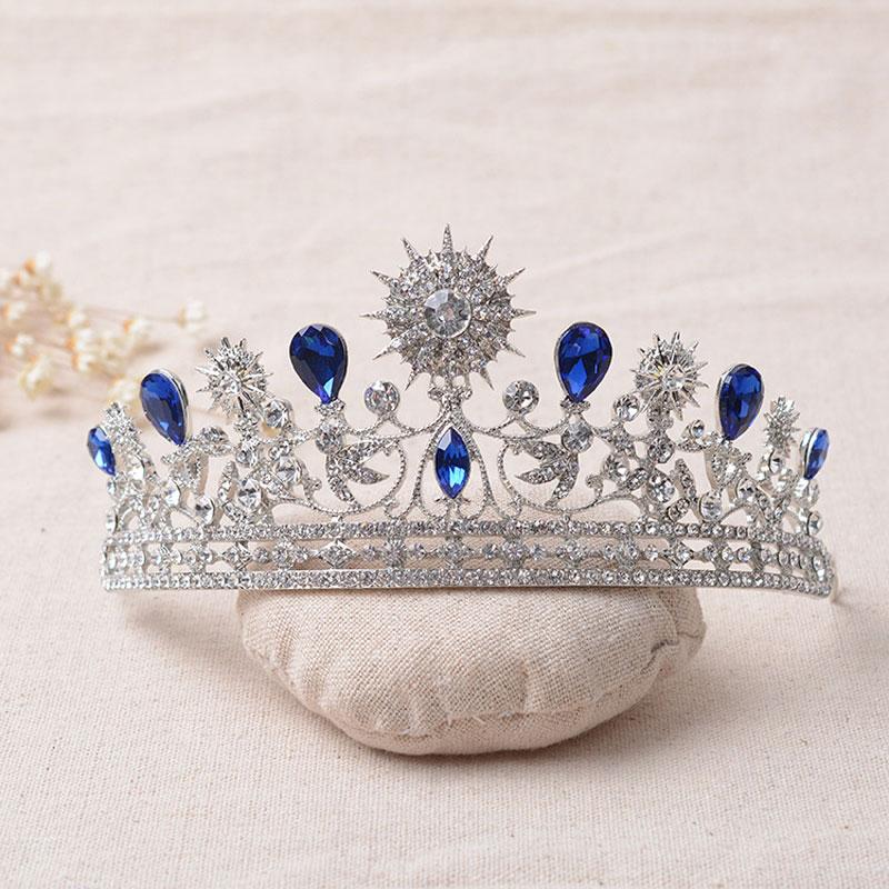 Luxo elegante strass de cristal Tiara de casamento Quinceanera Tiaras e coroas Pageant Tiara cabelo jóias