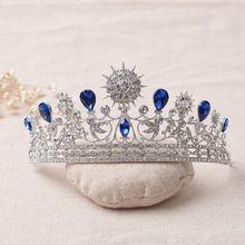 Luxo elegante azul strass tiara nupcial casamento de cristal quinceanera tiaras e coroas pageant tiara acessórios de jóias de cabelo