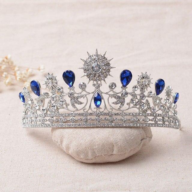 luxury elegant blue rhinestone bridal tiara crystal wedding