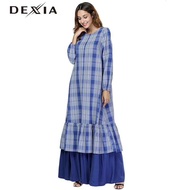 7444 Maxi Plus Bohemian Party Long Blue Sleeve Dexia 4xl Size Spring Plaid Full Dress Robe Women Loose Office 3xl wPPOnqI7T