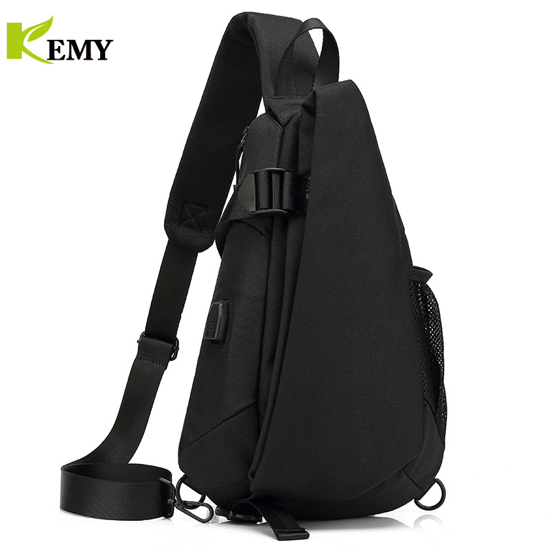 KEMY New Arrival Crossbody Bags Men Chest Pack Short Trip Messengers Bag Waterproof Shoulder Bag USB Sling Bag For Ipad Pocket 5