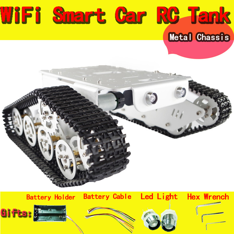 все цены на DOIT Metal Robot Tank Car Chassis T300 Caterpillar Tractor Crawler Intelligent Robot Obstacle Accessory Part DIY RC Toy онлайн