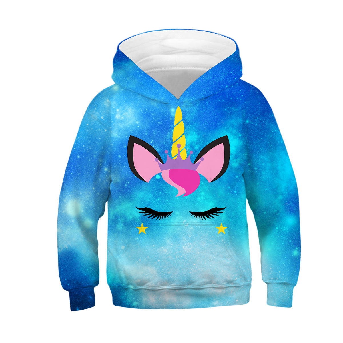 3D Printed Fashion Blue Starry sky Anime Unicorn Print Hoodies Kids Lovely Animal Sweatshirts Children Hooded Pullover Clothes(China)