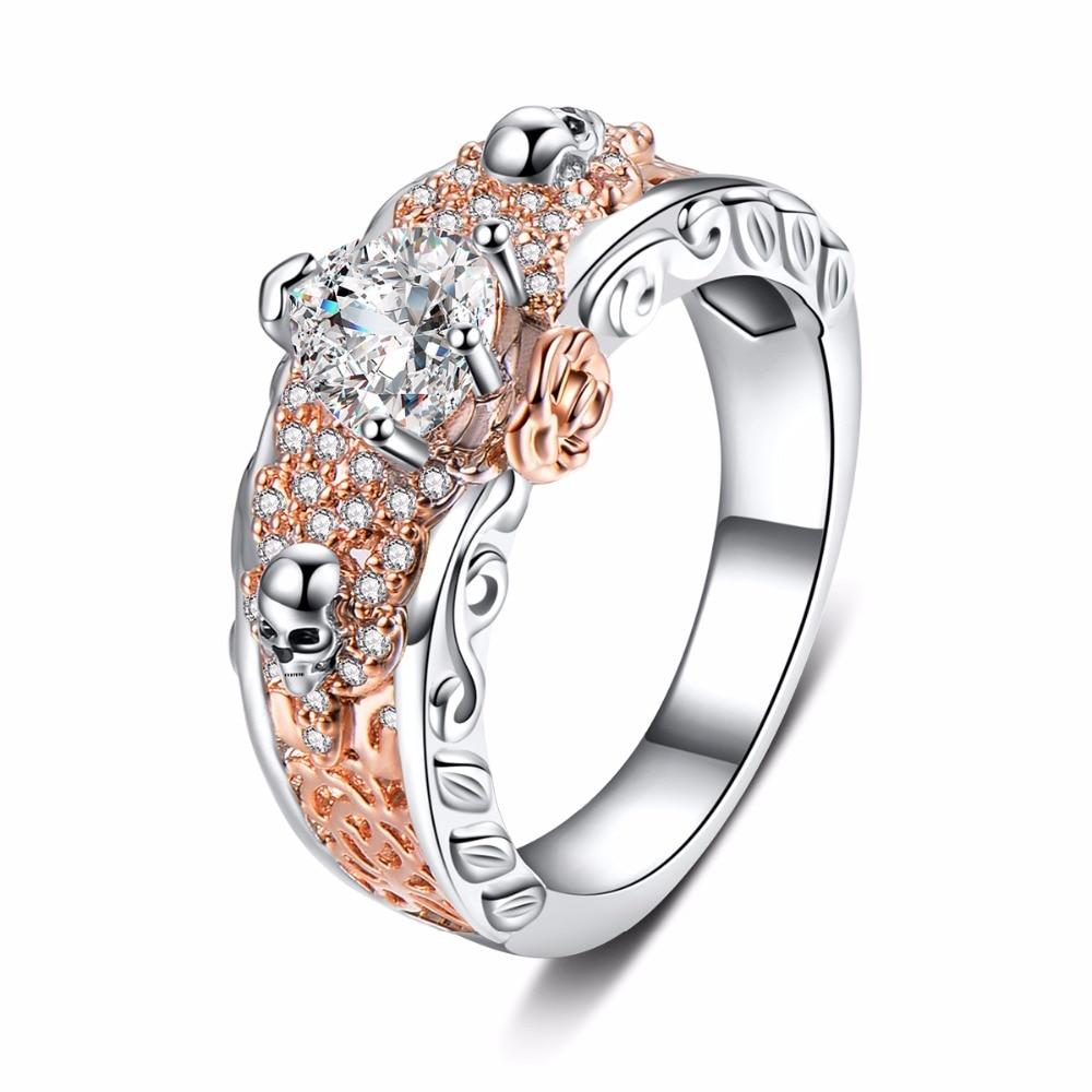 Austrian Gothic Skull Ring Rose Flower Style Heart Shape