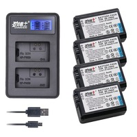 4pcs NP FW50 NP FW50 Battery + 2 Slots LCD USB Charger for Sony Alpha a7r2 a6500 a6300 a6000 a5100 a5000 a3000 NEX 5T 5t 5R