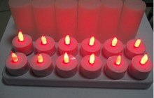 50set/pcs 12pcs=1set  Rechargeable Candle Lamp LED night Lights Electric Tea Light - Realistic Candles party bar red/amber