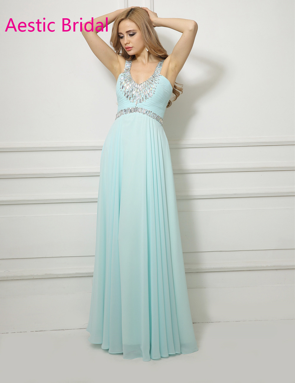 Imported Party Dress Mint Green Chiffon A Line Straps Prom Dress ...