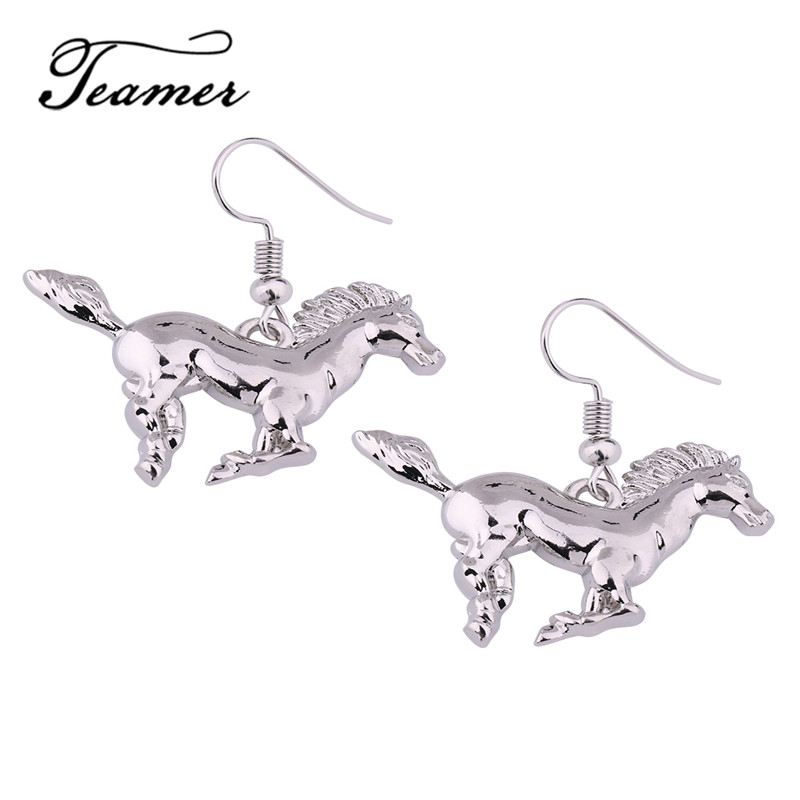 Teamer New in Wicca Handsome Running Horse Dangle Earring Supernatural Amulet Jewelry for Best Gift Silver Color Accessories