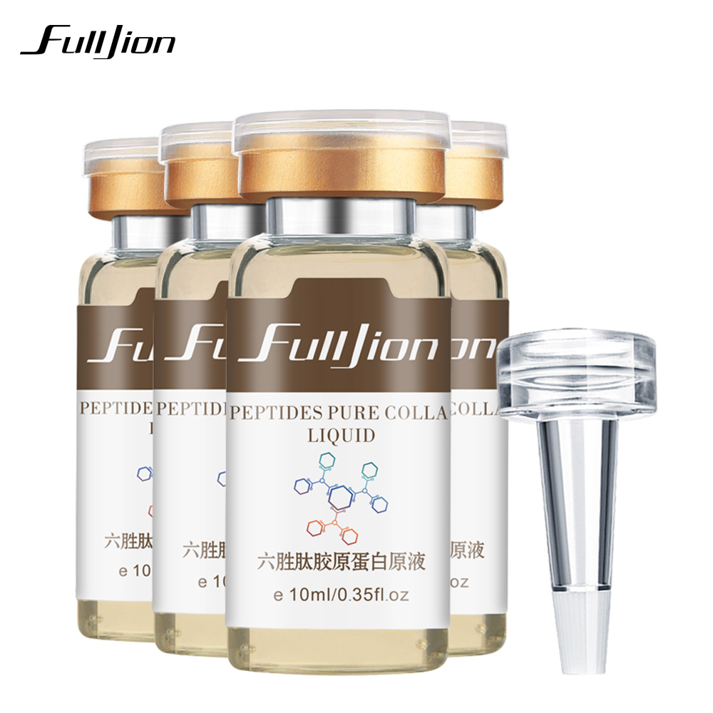 Fulljion 1Pcs Six Peptides Pure Collagen Protein Liquid Hyaluronic Acid Anti-Wrinkle Anti Aging Face Serum Moisturizer Skin Care