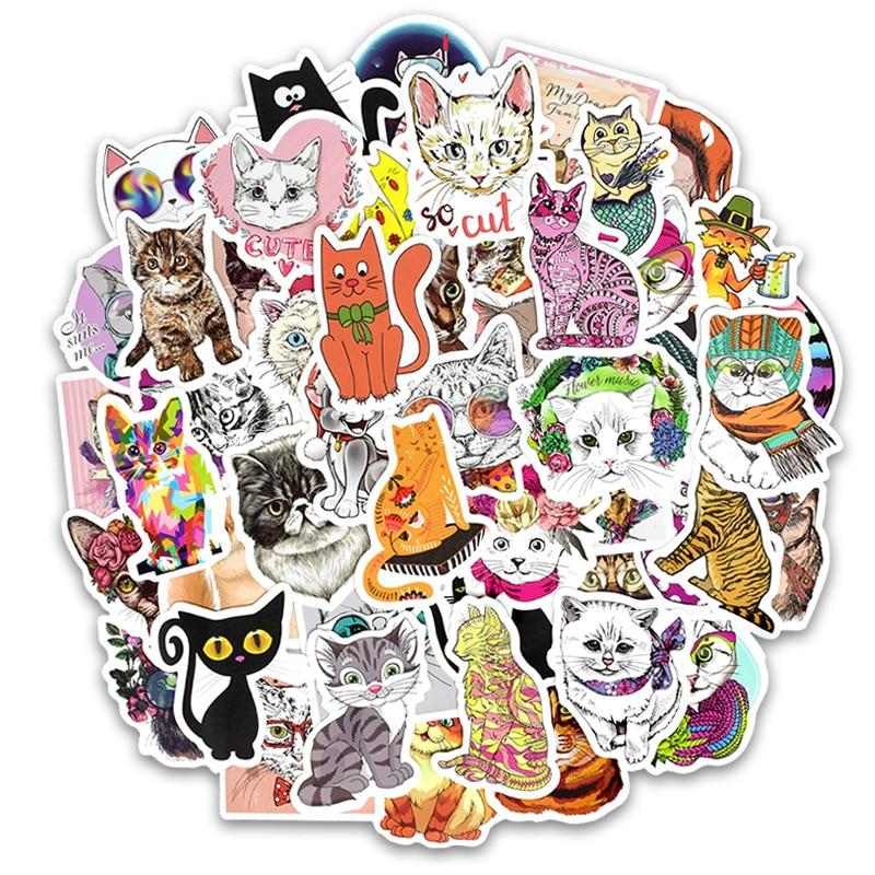 50 Pcs/lot Cute Cat Style Kitten Stickers For Computer Pad Phone Laptop Skateboard Fridge Bicycle Pvc Waterproof Decal Sticker