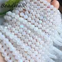 Natürliche Mondstein Mond Stein Runde Perlen Glatte 4mm 5mm 6mm 8mm 9mm Glänzende Blaue Licht für DIY Machen Halsketten Armbänder