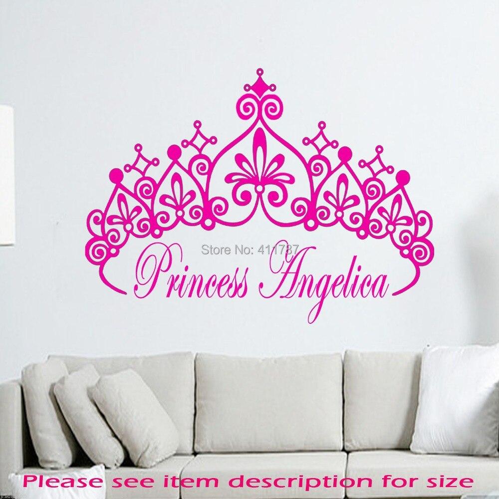Free Shipping Princess Crown Girls Name Wall Art Decal Home Decoration  beautiful fair Wall Stickers 40 x 38CM 9a20aa584b3c
