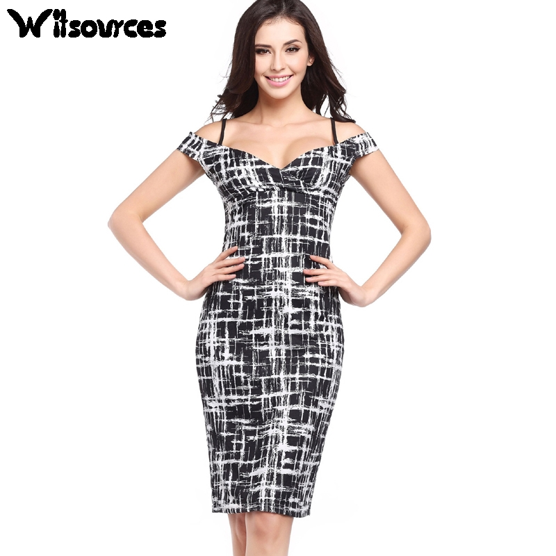 Witsources women sexy off shoulder strap work dresses summer new 2017 elastic skinny casual pencil dress 9 colors SD3717