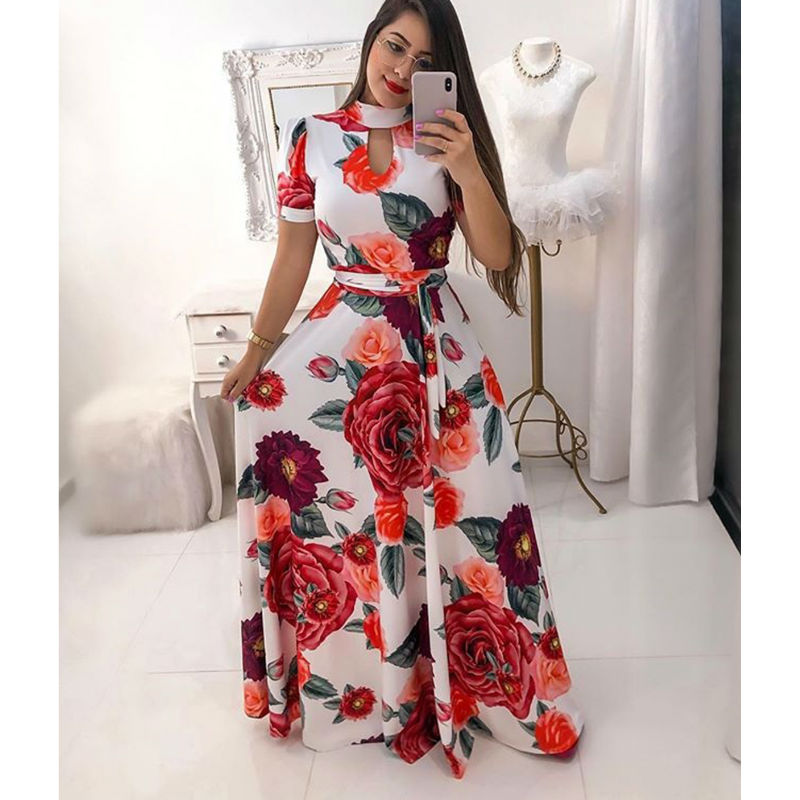 fc836bd19a69a Worldwide delivery women long maxi dress 2019 summer floral print in ...