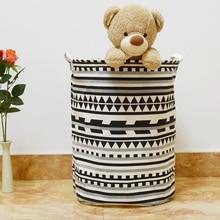 40 50cm Zakka Geometric large laundry storage basket Household toys Dirty Clothes Foldable storage barrel kids