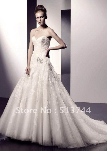 Free shipping  High Quality  Beautiful  Beaded Embroidery See Layout  Wedding Dress  Bridal Gown Custom Any Color and Size