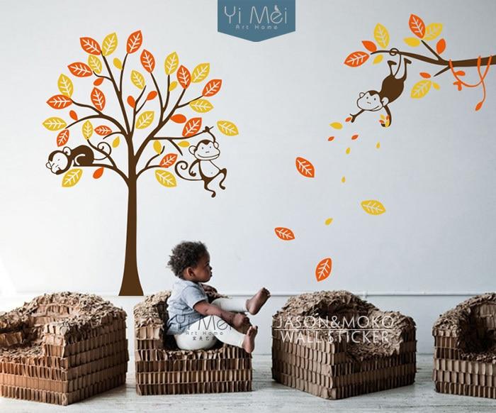 3 Monkey Tree and Branch Vine Baby Nursery Vinyl Wall Decals Wall Sticker Wallpaper 210*310CM Home Decoration