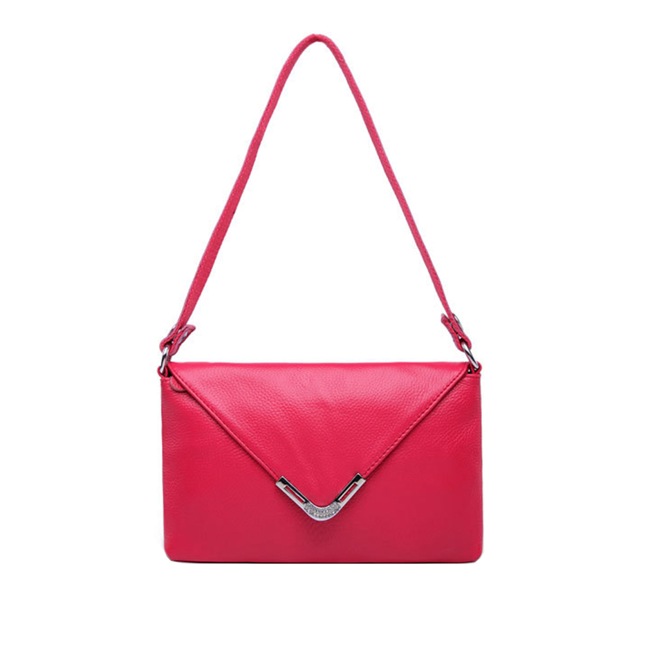 ФОТО Simple & Fashion Women Hot Pink Genuine Leather Crossbody Bags Magnetic Cover Design Solid Cow Leather Shoulder Bags KSB144