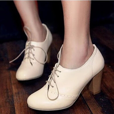 Fashion Vintage British Style Lace Up Thick High Heels Oxford Shoes For Women Pumps Shoes Woman Ladies Office Heels US 10.5 new 2015 autumn flat t strap oxford shoes for women vintage british style round toe low thick heels women oxfords shoes woman
