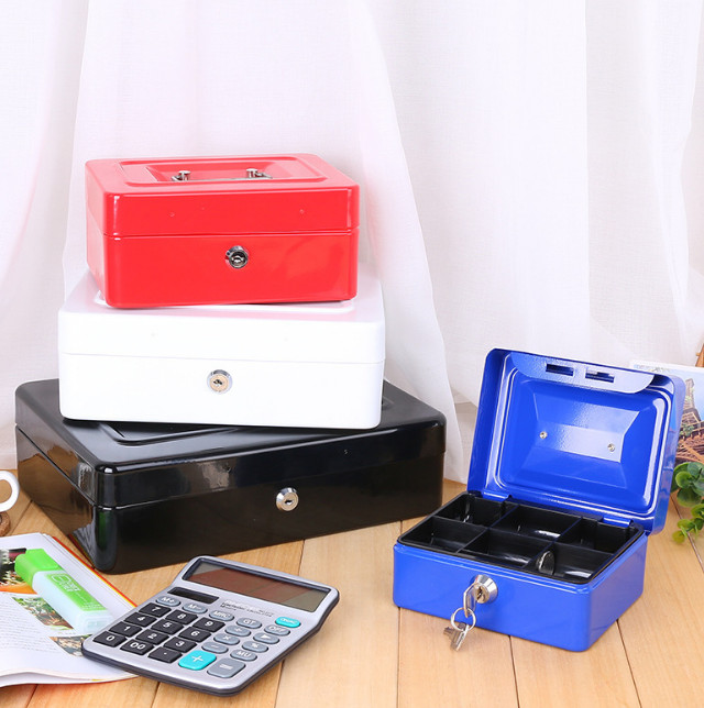 15x12x8cm Lock Portable Metal Office Storage box Bank Money Box Saving Money Box Safe Coin Money Box for Kids Toy Birthday Gift