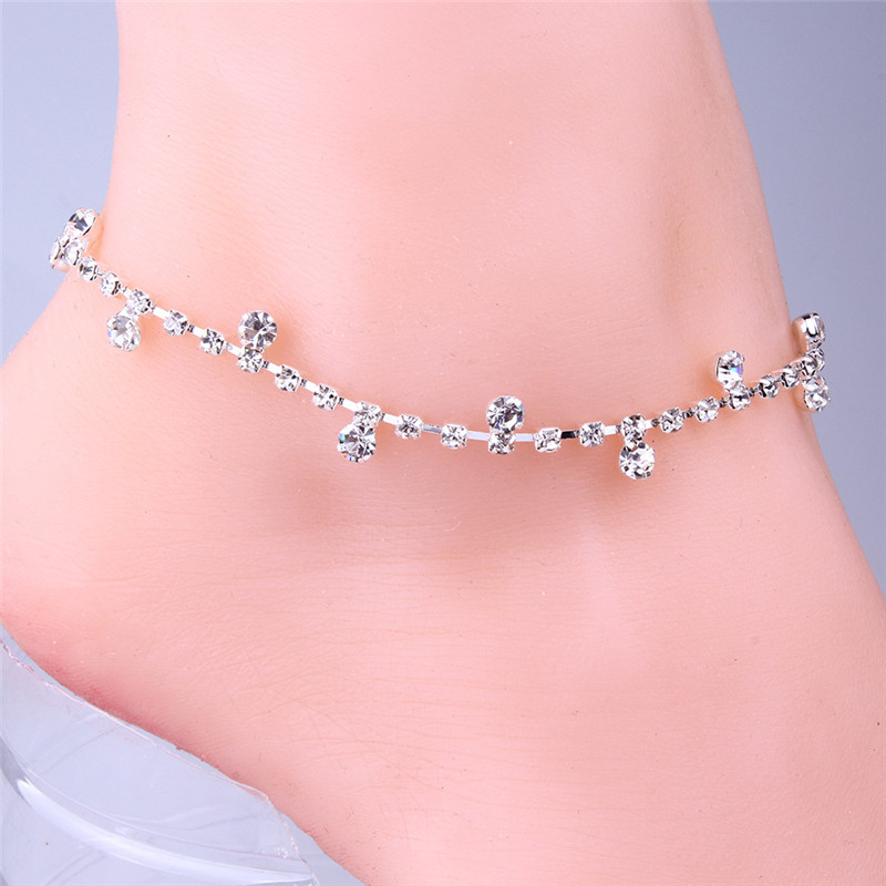 Yobest New Silver Color Crystal Anklet Foot Chain Ankle Bracelet Wedding Women fine Jewelry Gift